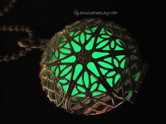 Green Glow in the Dark Silver Filigree Locket