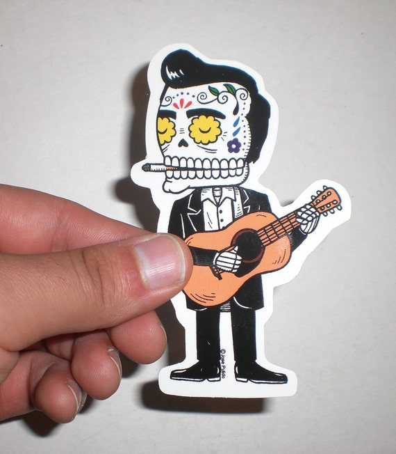 Johnny Cash Calavera Die Cut Vinyl Sticker