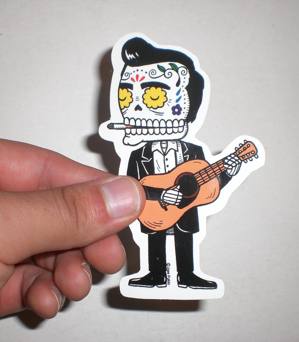 Johnny Cash Calavera Die Cut Vinyl Sticker - Die cut vinyl stickers