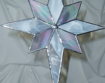 WHITE CHRISTMAS STAR in Stained Glass, Tree Topper 11.5 x 9