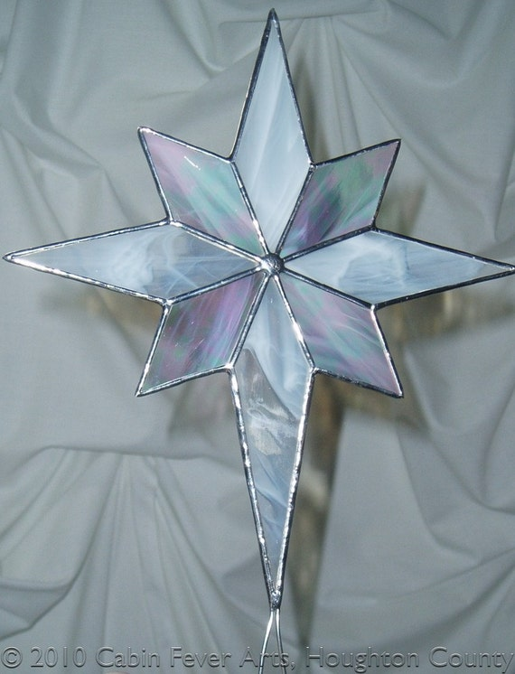 White christmas star in stained glass tree topper