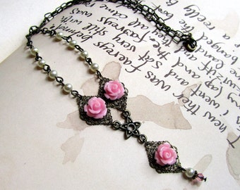 Pink Necklace,  Victorian Jewelry with Pink Roses, Y Necklace, Statement Necklace
