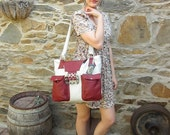 trendy  deep red and white pocket bag