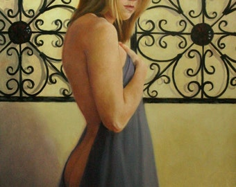 Oil portrait SALE figurative classical nude female 30x20 inch figure painting Fragile by Kim Dow