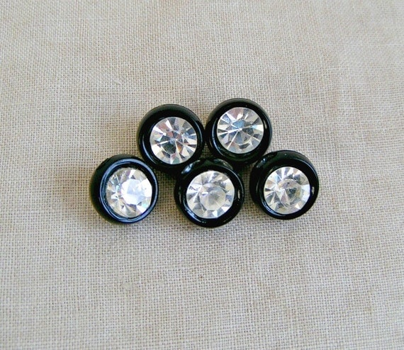 Vintage Plastic Black & Rhinestone Buttons. 5 Pieces