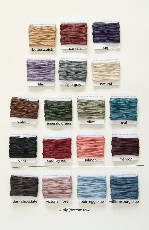 Waxed Irish Linen Thread - 5 yards choose from 18 different colors