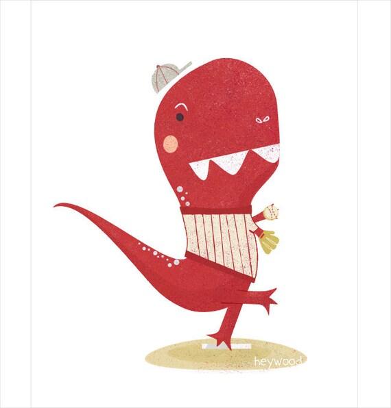 Dinosaur Art Print - Baseball Tyrannosaurus Rex