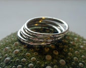 Silver Stacking Ring Set Hammered Sterling Silver Simply Shiny Set of Three