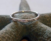 Silver Ring Band Hammered Sterling Silver Shiny Stacking Ring