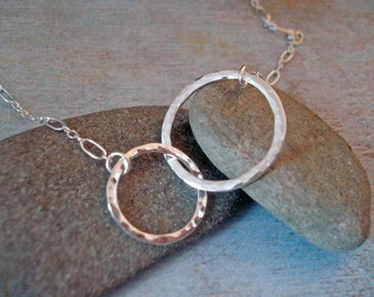 Sterling Silver Double Eternity Hoop Necklace - Entwined Circles
