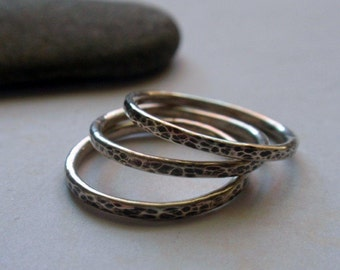 Silver Stacking Ring Set Oxidized and Hammered Sterling Silver Set of Three