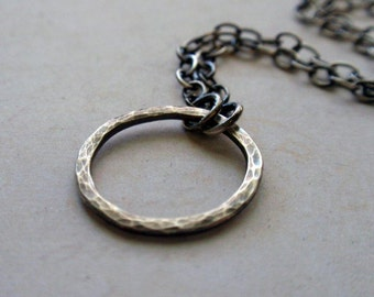 Small Oxidized Sterling Silver Eternity Circle Necklace Sweet Hammered Hoop