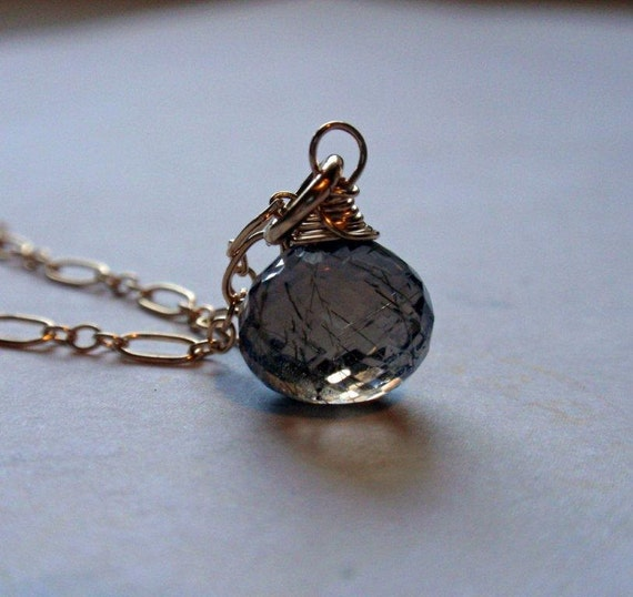 SALE Golden Rutilated Quartz Necklace in 14K Gold Fill