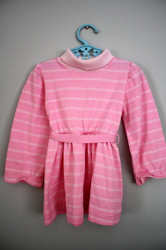 RESERVED SALE 80s Health-tex Bubblegum Pink Striped Dress 2T 3T