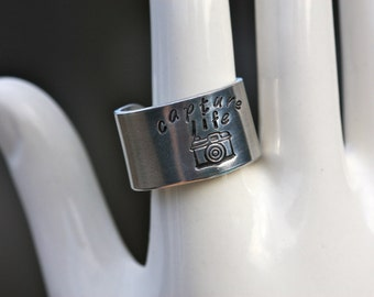Capture Life photography themed, hand stamped aluminum adjustable band ring
