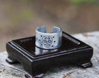Sugar Skull - hand stamped aluminum adjustable band ring