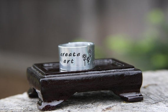 Create Art - hand stamped aluminum adjustable band ring