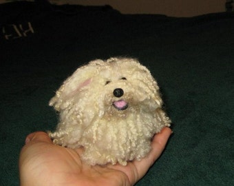 Needle Felted Dog/ Custom Miniature Sculpture of your pet / Rare Breed Puli / Komondor / poseable by Fiber Artist GERRY