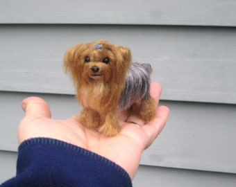 Needle Felted Dog / Custom  Miniature Sculpture of your pet / poseable / Personalized / Desk pet