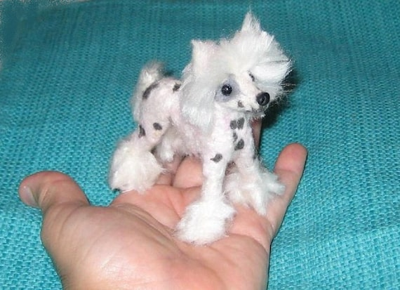 Needle Felted Dog / Custom Miniature Sculpture of your pet / Cute/ poseable by Gourmet Felted / example Chinese Crested