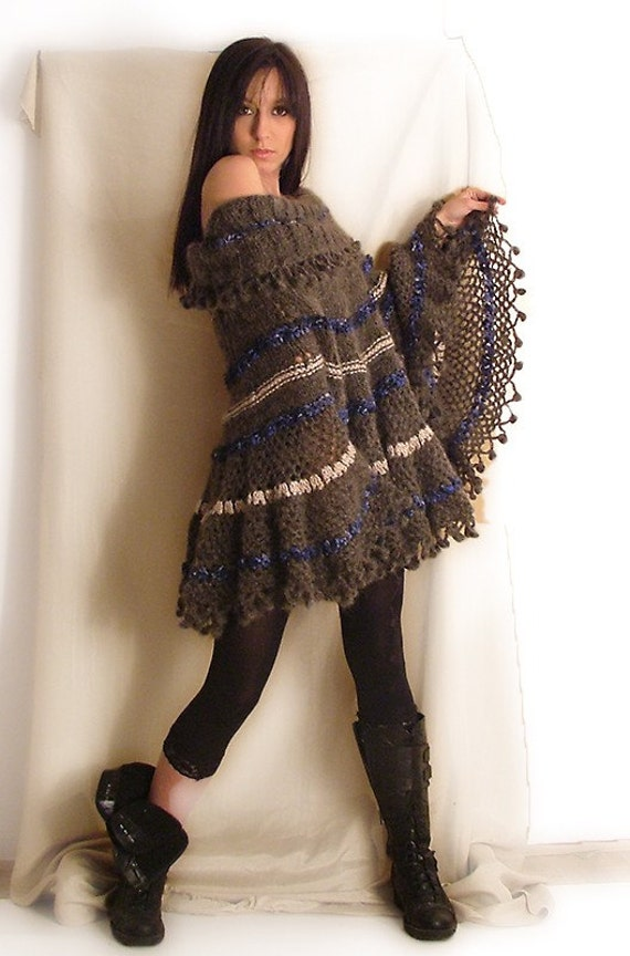 Gray Mohair Poncho