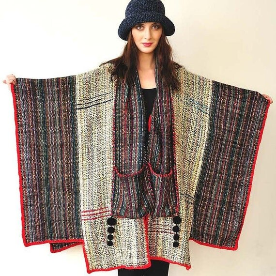 Gray and Red Handwoven Women's Poncho - MADE TO ORDER