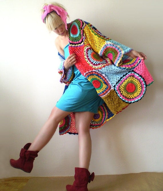 Plus Size Multicolor Crocheted Cardigan - MADE TO ORDER