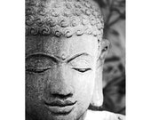 Buddha Head - Fine Art Photograph - Spiritual Still Life Photo - Stone Buddha Print - Black and White Buddha Photo - New Age Art - Wall Art