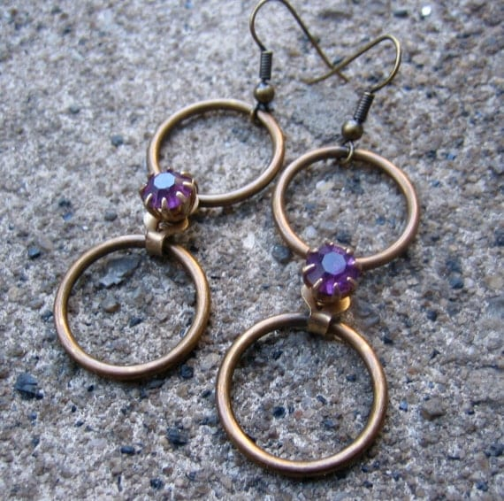 Forever Dangle Earrings  - Recycled Brass Hoops and Purple Prong-Set Rhinestone Connector Beads (Eco-Friendly)