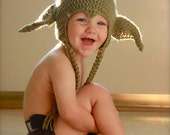 Ready to Ship - Handmade Star Wars Yoda hat - toddler size 18-24 months, 2/3T. Great for Halloween Costume.