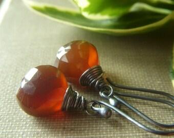 Dark Caramel Chalcedony Earrings, Short Teardrop, Oxidized Sterling Silver, Golden Brown Gemstone Briolette, Simple Teardrop Dangle
