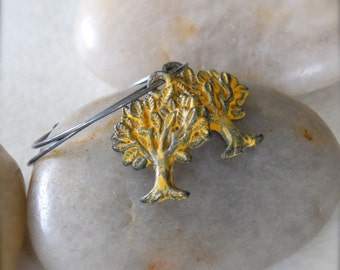 Oxidized Sterling Silver Hoop Earrings with Saffron Yellow Patinated Brass Tree Charms - Tree of Life // A155