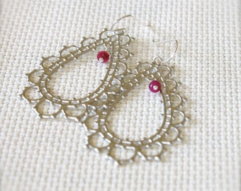 Sterling Silver Earrings with Matte Silver Lacy Filigree and Ruby Gemstone Rondelles - Lace // A163