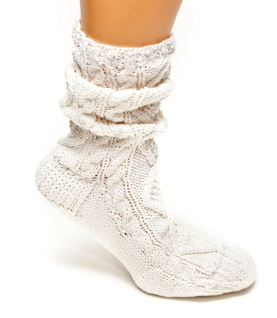 Knitting Pattern For Cotton Socks : PATTERN ONLY Scrunch Cable Socks