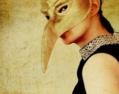 Surreal Portrait, Bird Mask Photograph, Dramatic Gold Photo, Bedroom Decor, Gothic Art, Masquerade Photo, Rich Colors, Dark Photography