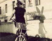 Rabbit Head Photograph, Bunny on Bicycle,  5x7 Whimsical Photo Collage, Altered Vintage Photography, Halloween Decor