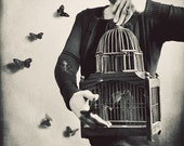Surreal Portrait, Butterfy Photography,  Black and White, Home Decor, Butterflies Fine Art Print, Birdcage, Bedroom Decor, Wall Art