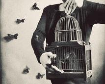 Surreal Portrait, Butterfy Photography,  Black and White, Home Decor, Butterflies Fine Art Print, Birdcage, Bedroom Decor, Wall Art