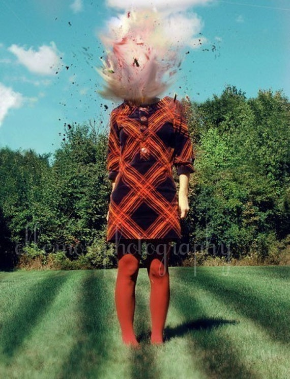 Whimsical Portrait, Oh Dear, Surreal Photography, Fine Art Photograph, Red, Green, Exploding Head, Blow Up, Modern Home Decor