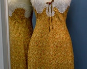 Golden Floral Silk Lace Trimmed Slip Size Small