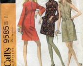 Vintage 1960s Dress Pattern, McCall's 9585, Size 12, Bust 34