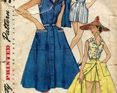 Two Vintage 1950s Weekend Wardrobe Sewing Patterns, Simplicity 1177 and 4746 , Size 12, Bust 30
