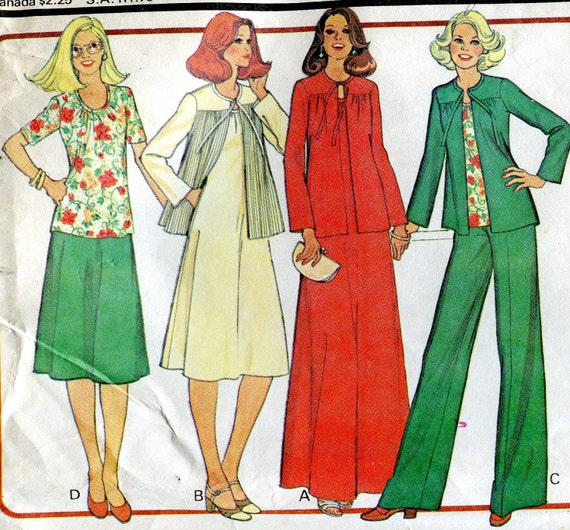 Three Vintage 1970s Sewing Patterns, McCall's 5843, and Simplicity 6856 and 9035, Size 16-1/2, Bust 39