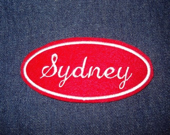 Oval Name Patch - red and white embroidery U pick any name