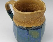 Faceted Stoneware Pitcher in Cornflower Blue and Cashew Tan