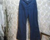 Vintage Navy blue denim Sailor bell bottom pants 30 29