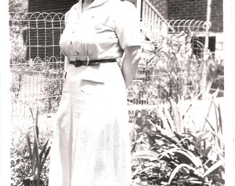 Vintage Original Photo from 1943- Full length photo of Mom in the backyard- a classic