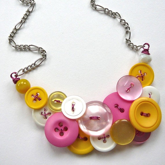 Shades of Pink, Yellows and White Vintage Button Statement Necklace