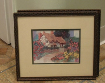 Signed Water Colour Country Cottage Picture
