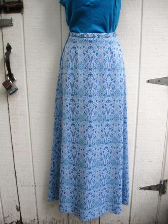 blue and white knit vintage maxi skirt